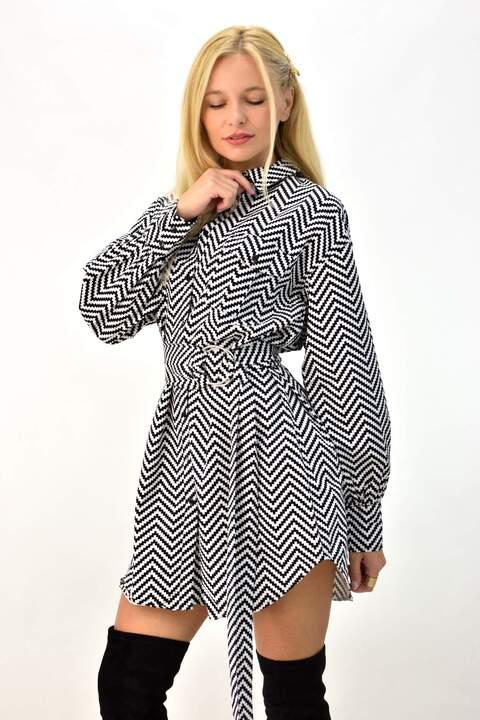 Φόρεμα μισόνι με ζώνη - Μαύρο
