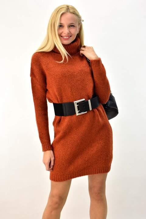 Πλεκτό φόρεμα με ζιβάγκο - Κανελί
