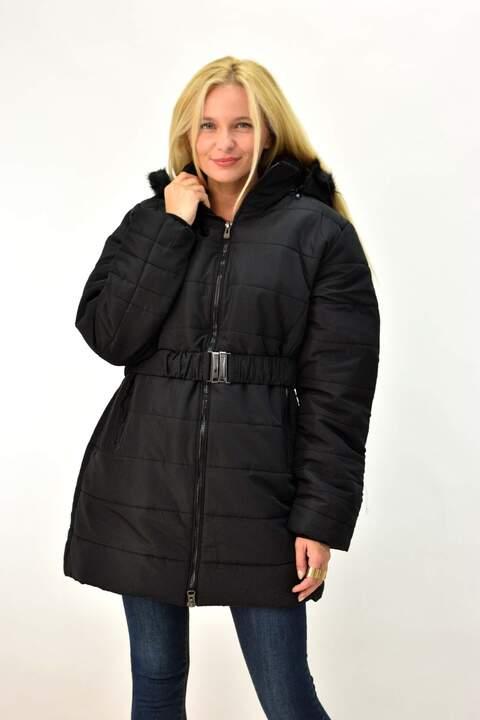 Γυναικείο μπουφάν για μεγάλα μεγέθη - Μαύρο
