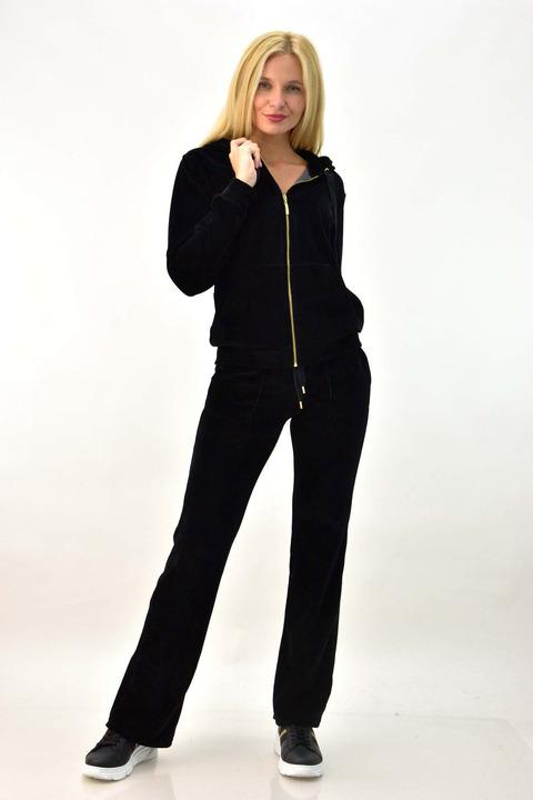 Βελουτέ φόρμα σετ μαύρο χρώμα με στρας κορώνα - Μαύρο