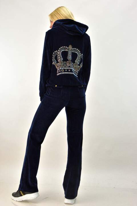 Βελουτέ φόρμα σετ μπλε σκούρο με στρας κορώνα  - Μπλε Σκούρο