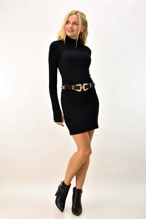 Κοντό φόρεμα με άνοιγμα στο μανίκι - Μαύρο