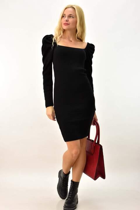 Φόρεμα με φουσκωτά μανίκια - Μαύρο