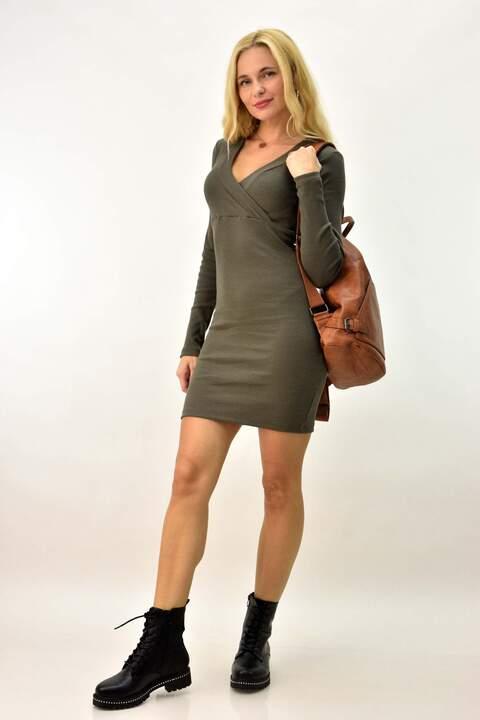 Εφαρμοστό κρουαζέ κοντό φόρεμα - Λαδί