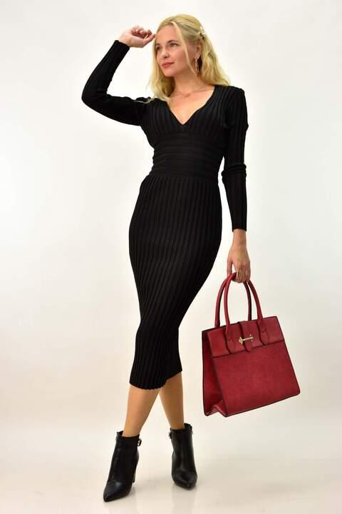 Μίντι φόρεμα ριπ  - Μαύρο