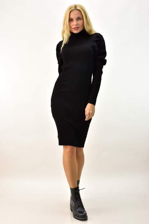 Φόρεμα ζιβάγκο με φουσκωτά μανίκια - Μαύρο