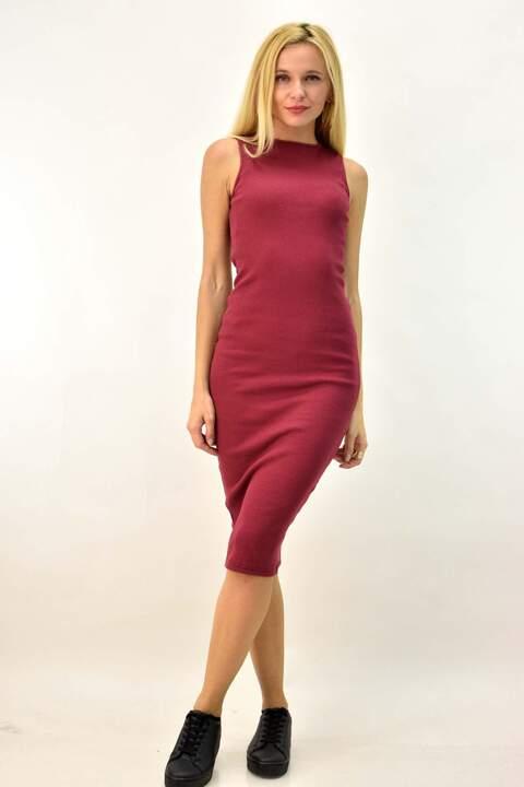 Μίντι ριπ φόρεμα - Μπορντώ