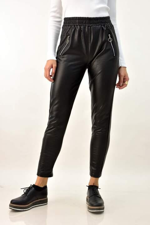 Δερμάτινο παντελόνι με φερμουάρ - Μαύρο