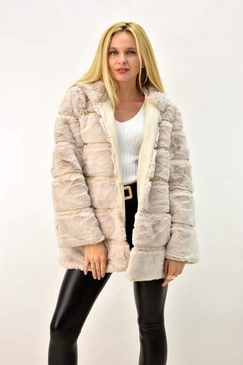 Γούνινο παλτό με κουκούλα - Εκρού
