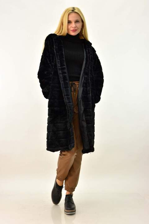 Μακρύ γυναικείο παλτό γούνα - Μαύρο