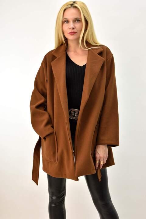 Γυναικείο παλτό με ζώνη - Καφέ