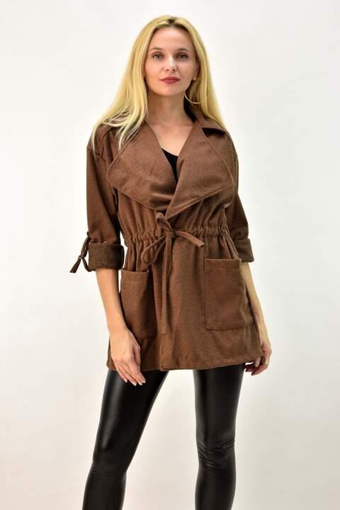 Γυναικείο παλτό με γιακά - Καφέ