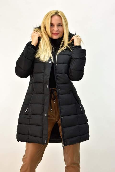 Γυναικείο μπουφάν plus size με εσωτερική επένδυση - Μαύρο
