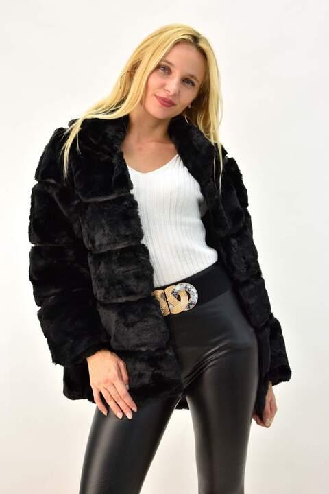 Γυναικείο παλτό γούνα με γιακά - Μαύρο