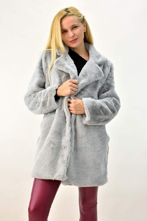 Γυναικείο παλτό γούνα - Γκρι