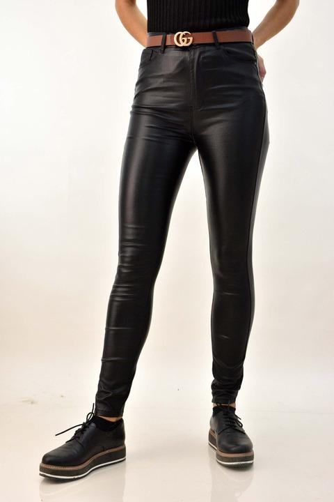 Γυναικείο δερμάτινο παντελόνι - Μαύρο