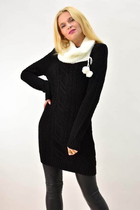 Γυναικείο φόρεμα πλεκτό - Μαύρο