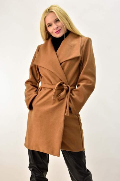 Παλτό κοντό με ζώνη - Κανελί