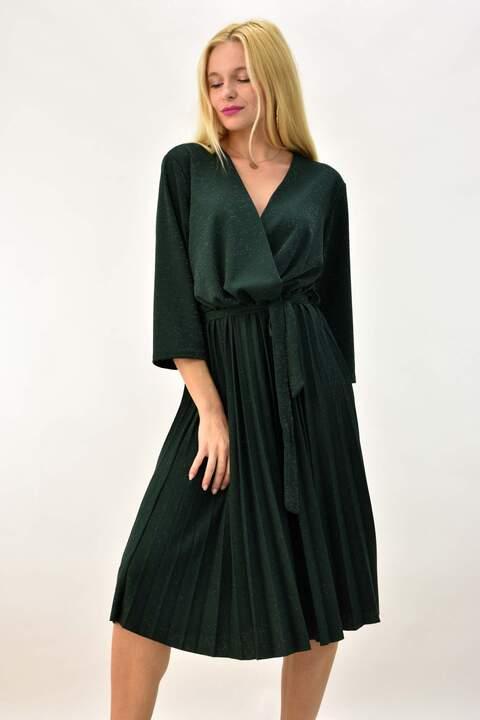 Φόρεμα λούρεξ κρουαζέ  - Κυπαρισσί