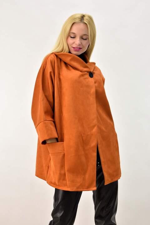 Γυναικείο παλτό μουτόν  oversized  - Κανελί