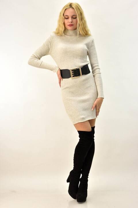 Γυναικείο mini φόρεμα  - Εκρού