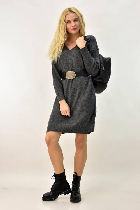 Φόρεμα πλεκτό με V ντεκολτέ  - Ανθρακί