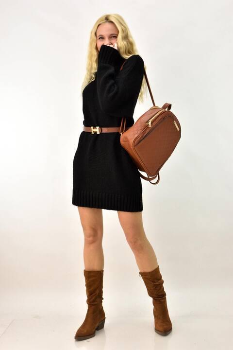 Φόρεμα πλεκτό με ζιβάγκο  - Μαύρο