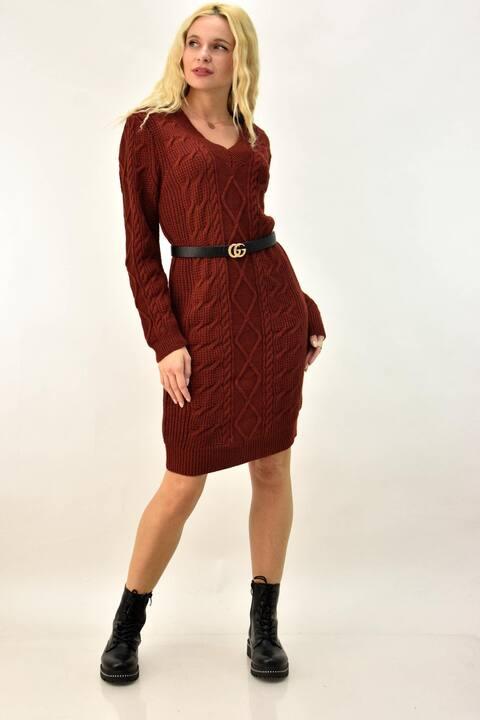 Φόρεμα πλεκτό με V ντεκολτέ  - Κεραμιδί