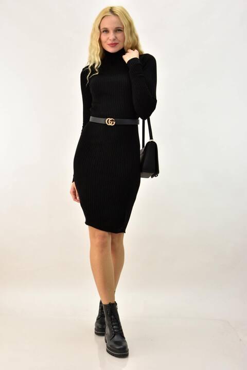 Φόρεμα midi με ζιβάγκο  - Μαύρο