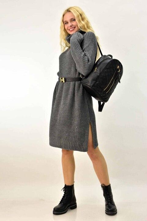 Φόρεμα πλεκτό με ζιβάγκο  - Ανθρακί