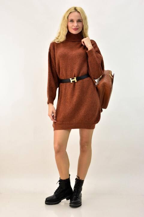 Πλεκτό φόρεμα  - Κανελί