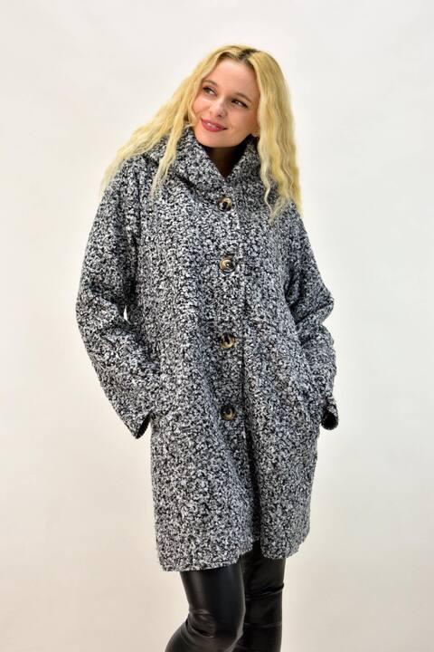 Παλτό μπουκλέ με κουκούλα - Γκρι