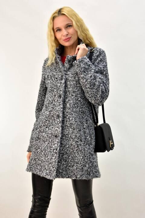 Παλτό μπουκλέ με γιακά και κουμπια - Γκρι