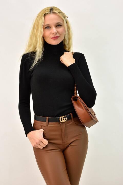 Γυναικεία μπλoύζα basic με ζιβάγκο - Μαύρο