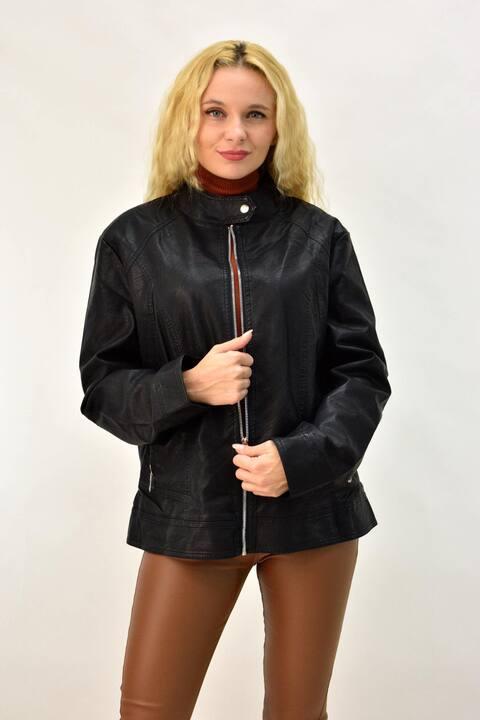Δερμάτινο μπουφάν με γούνα και ασημί φερμουάρ - Μαύρο