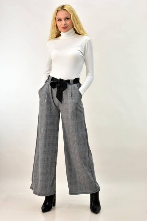 Παντελόνα καρό με ζώνη από δερματίνη - Γκρι