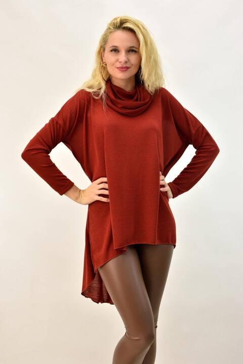 Γυναικείο μπλουζοφόρεμα ασύμμετρο - Κεραμιδί