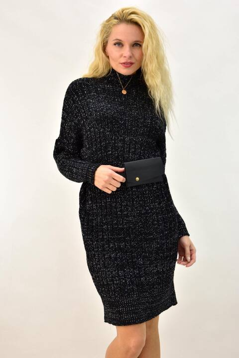 Φόρεμα πλεκτό με ψηλό λαιμό και εφέ γκλίτερ - Μαύρο