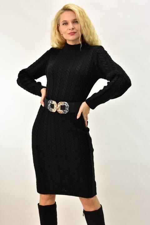 Γυναικείο φόρεμα πλεκτό πλεξούδα  - Μαύρο