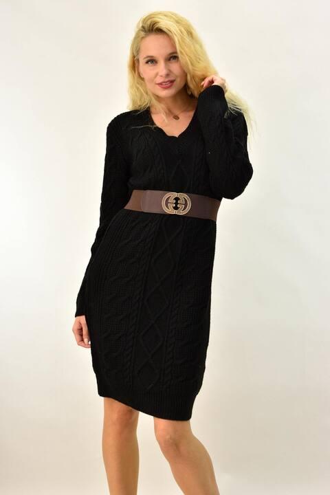 Γυναικείο φόρεμα πλεκτό με V λαιμόκομψη  πλεξούδα - Μαύρο