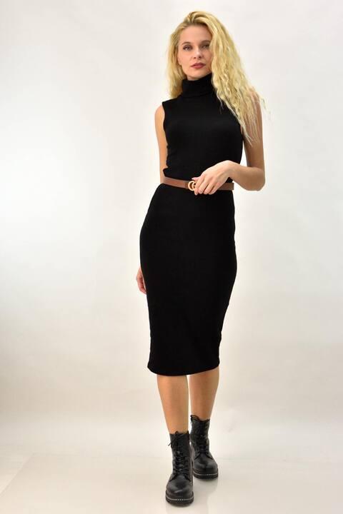 Γυναικείο φόρεμα αμάνικο με ζιβάγκο - Μαύρο