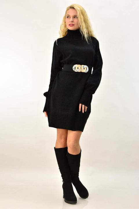 Γυναικείο φόρεμα πλεκτό ζιβάγκο - Μαύρο