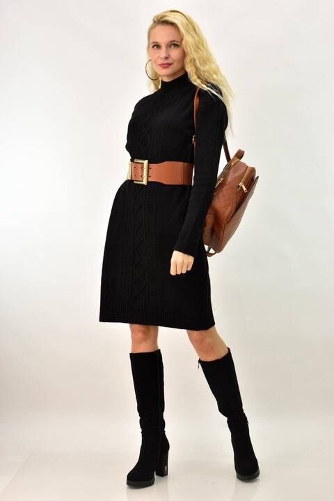 Γυναικείο φόρεμα πλεκτό με σχέδιο πλεξούδα στη μέση - Μαύρο