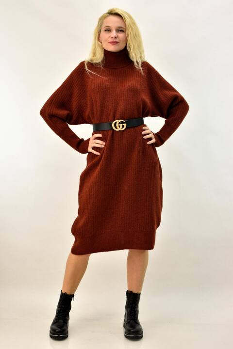 Φόρεμα πλεκτό με μανίκι νυχτερίδα και ζιβάγκο - Κεραμιδί
