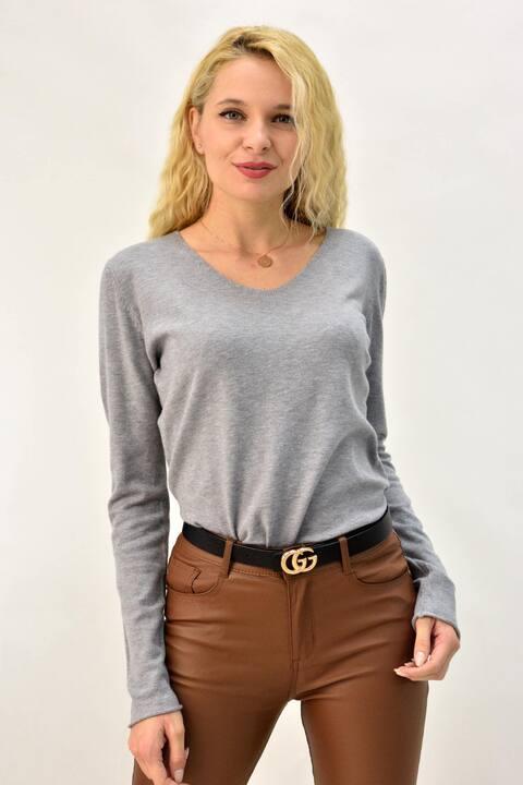 Γυναικεία μπλούζα πλεκτή με v  - Γκρι