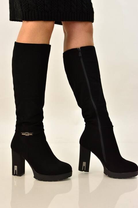 Γυναικεία μπότα σουέτ με τακούνι - Μαύρο