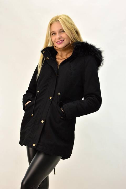 Παρκά μπουφάν με επένδυση γούνας - Μαύρο