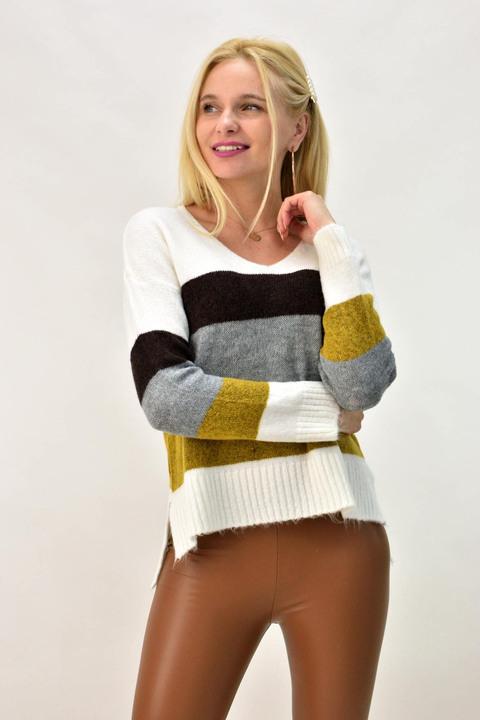 Γυναικείο πουλόβερ με V λαιμόκοψη  - Μουσταρδί