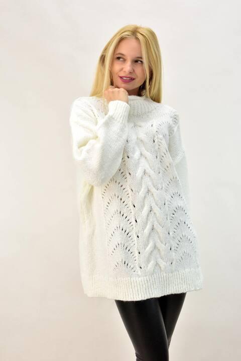 Γυναικείο πλεκτό πουλόβερ με λουπετο  - Λευκό