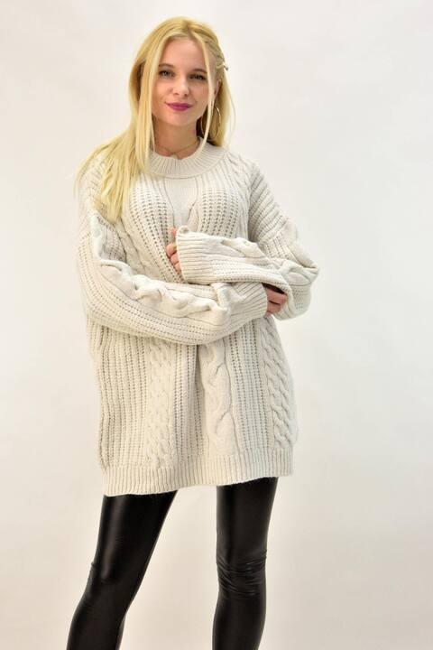 Γυναικείο πλεκτό πουλόβερ για μεγάλα μεγέθη - Εκρού
